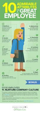 Good Work Traits 10 Admirable Attributes Of A Great Employee Infographic