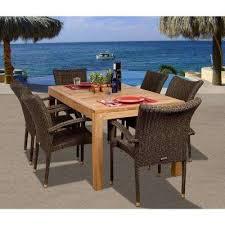 brussels 7 piece teak all weather wicker patio dining set