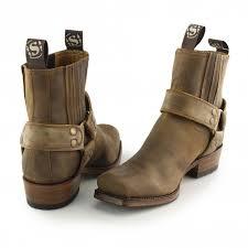 sendra 8286 mens leather harness biker boots mad dog tan