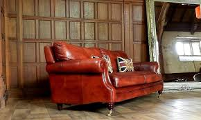 f50 1018 victorian style chestnut antique tan brown leather 3 seat chesterfield club sofa