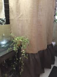 burlap shower curtain natural dark brown burlap with shirred gathered bottom shower curtain rustic shower curtain country shower curtain