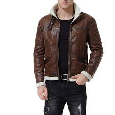 men brown er leather jacket men fur collar leather jacket