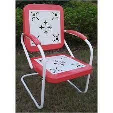 red c chair retro metal rc