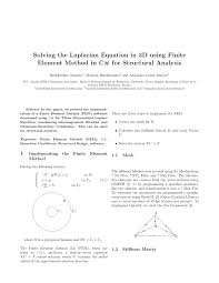 solving the laplacian equation in 3d using finite element method in c for structural ysis pdf available