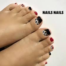 フットネイル ダルメシアンネイル 赤黒 ジェルネイル Nails Nails 大阪