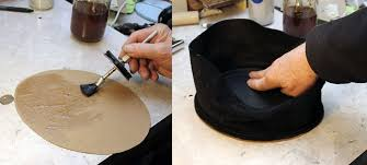 i applied contact cement to one side of the chipboard and the inside of the top i didn t let it dry at all this time before placing the hat on top of