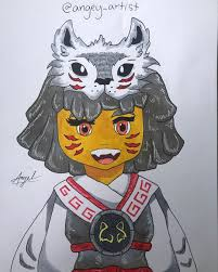 Akita from Lego Ninjago! I love her so much especially when she's with  Lloyd ᴗ She's an adorable cinnamon roll and I wanted to draw … | Ninjago,  Lego ninjago, Akita
