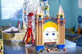 lego head office. Exhibition Table Of Bright And Colourful Lego Models Luna Park Including Entrance Face Canada Head Office E