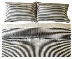 dark navy and white striped duvet cover set handmade natural linen twin contemporary