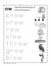 Phonics cut and paste worksheets for kindergarden to practice alphabets and sounds. Trace The Ow Words Worksheets