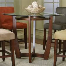 counter height dining table with cherry wood base set home decoration kitchen round glass top