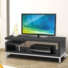 Black Wood TV Stand Console Table Home Entertainment Media Center Steel Leg  New