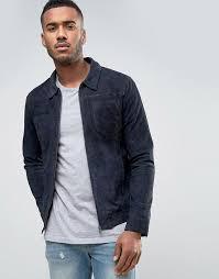 jack jones vintage suede jacket with patch pockets dark blue mens jack jones larger image