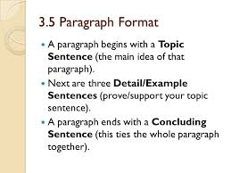 paragraph essay formatting ppt 3 5 paragraph format a paragraph begins a topic sentence the main idea of that