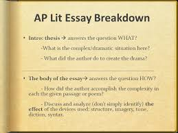 ap lit essay portion of the exam  part i multiple choice hour  ap lit essay breakdown  intro thesis  answers the question what