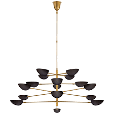 graphic grande four tier chandelier in hand rubbed antique brass with black shades