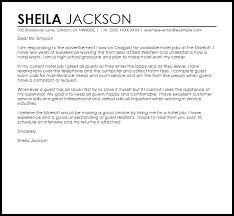 Best Hotel Hospitality Cover Letter Examples Best Ideas Of Cover