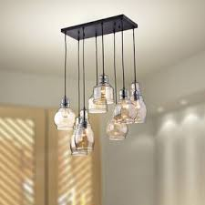 lighting pendants glass. Pruett Cognac Glass 8-Light Cluster Pendant Lighting Pendants Glass