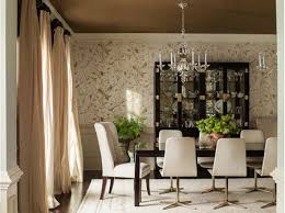 elegant dining room with gold and white wallpaper