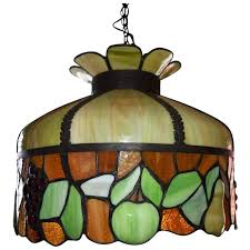 antique leaded stained glass chandelier fruit motif ca 1890