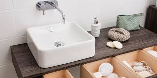 pair with angular taps for a modern look and if you re lacking in space a square countertop basin upon a slightly smaller unit is