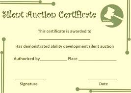 Donation Certificate Template Extraordinary Silent Auction Certificate Template Silent Auction Certificates