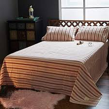 10 softest sheets for the most comfortable bed you've ever slept in. Amazon Com Stripe Flat Sheet Washed Cotton Top Sheets Thick Single Double Bed Dormitory Children Solid Color Bed Sheet 1 Pcs Red A W245xh270cm 96x106inch Home Kitchen