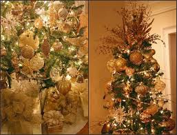Gold Ornament Accented Christmas Tree - lots of ideas for decorating trees