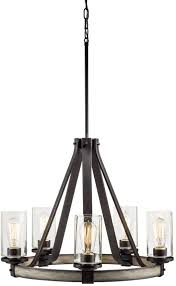 details about kichler barrington 24 02 in 5 light rustic glass chandelier anvil iron driftwood