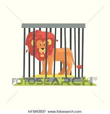 zoo animals in cages clipart. Simple Zoo Dangerous Lion With Big Mane Standing Behind The Cage Bars In Zoo Wild  Animal Enclosed Outdoor Zoological Park Funky Style Illustration On White  Zoo Animals Cages Clipart E