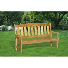 english garden bench. pressure treated pine 4 foot english garden bench with back - unfinished, painted, or e
