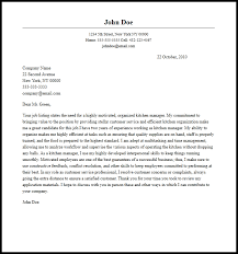 Professional Kitchen Manager Cover Letter Sample Writing