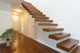 modern home with railless stairway with wooden treads