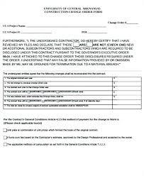 7 Sample Construction Change Order Forms Templates Form