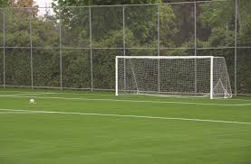 grass soccer field with goal. New Civic Center Field - Goal Grass Soccer With