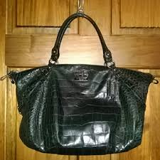 COACH MADISON Rare CROC EMBOSSED LARGE BLACK Bag