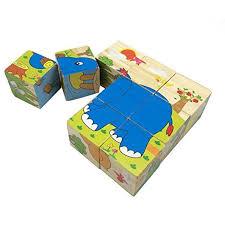 rolimate educational preschool wooden cube block jigsaw puzzles hedgehog elephant tiger deer monkey zebra