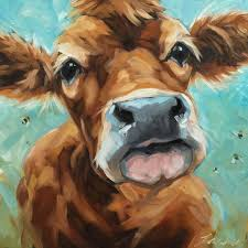 cow painting original impressionistic oil painting of a cow and bees by andrea lavery on panel paintings of cows and farm animals