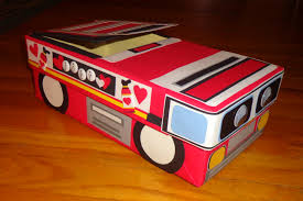 Boy Valentine Box Decorating Ideas Fire Truck Themed Valentine's Day Card Box Made With A Shoe Box 36