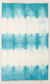 teal hazy tie dyed wool woven rug