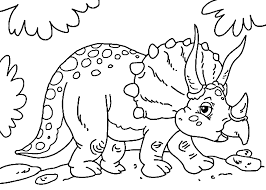 Cute Little Triceratops Dinosaur Coloring Pages For Kids Printable
