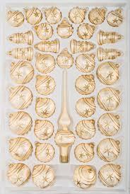 39 Tlg Glas Weihnachtskugeln Set In Ice Champagner Gold Komet