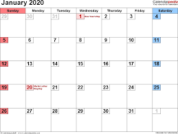 Word 2020 Calendars Printable Jan 2020 Calendar January 2020 Calendars For Word