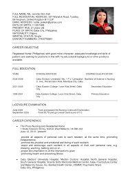 Curriculum Vitae Nursing Template Curriculum Vitae Sample Pdf
