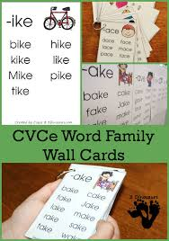 Free CVCe Word Family Wall Cards | 3 Dinosaurs