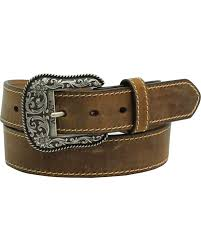 zoomed image ariat women s leather belt with engraved buckle brown hi res
