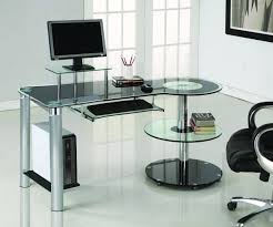 amazoncom black glass  chrome modern desk with circular shelves
