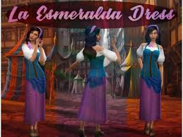 Esmeralda dress by makesims - The Sims 4 Download - SimsDomination