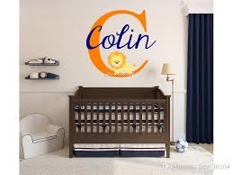 baby lion wall stickers customized girls boys baby name monogram nursery room vinyl wall decal removable wallpaper mural vinyl wall sticker vinyl wall