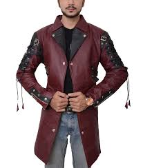 goth matrix steampunk gothic maroon leather coat